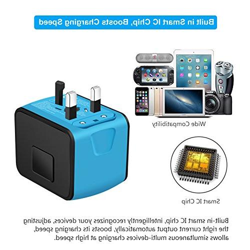 SAUNORCH Universal Power W/High 2.4A USB, Type-C Wall Charger, Adapter, Worldwide AC Adapters US, Asia-Blue