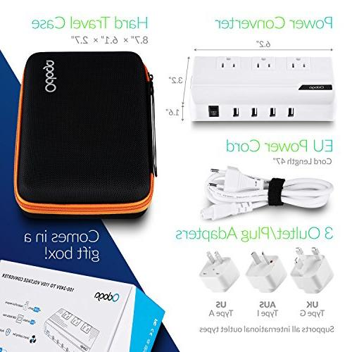 Odoga to Travel Adapter with 4 3 Outlets and UK/Europe/AUS International Suitable for More 150 Countries, Black Case
