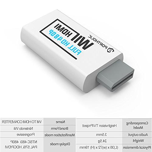 PORTHOLIC Wii Converter High Speed Adapter 3.5mm Jack Audio, All Wii 480P,480I,NTSC, Compatible with Full HD Devices