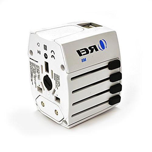 Travel Adapter, OREI All in One Universal Power AC Plug Dual USB for AUS