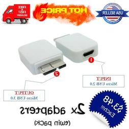 Micro USB 2.0 to 3.0 Short Cable Adapter 2x Converters Samsu