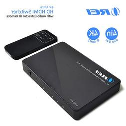 OREI 4 X 1 Ultra HD HDMI Switcher with Audio Extractor IR Re