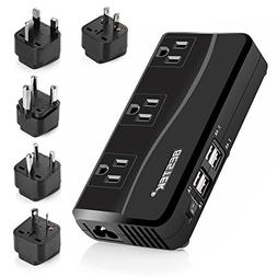 BESTEK 200W Power Converter 3-Outlet and 4-Port USB Travel V