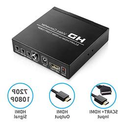 CiBest SCART + HDMI to HDMI Converter Adapter, Support 480I/