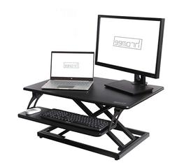 Spring Standing Desk Converter Workstation with Pullout Keyb