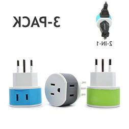 OREI Switzerland Travel Plug Adapter - 2 USA Inputs - 3 Pack