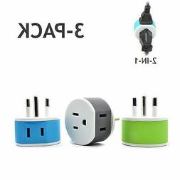OREI Thailand Travel Plug Adapter - 2 USA Inputs - 3 Pack -