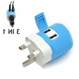 OREI UK, Ireland, Dubai Travel Plug Adapter - Dual USB - Sur