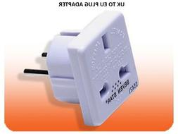 UK To EU Europe Travel Plug Charger Power Adapter Converter