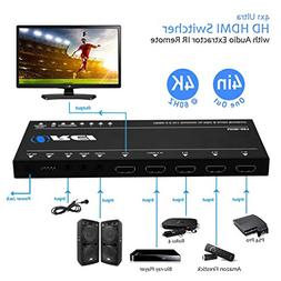 OREI Ultra HD HDMI 4 x 1 Switcher with ARC Out 18G Audio Ext