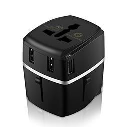 BONAZZA Universal World Travel Adapter Kit W/4 USB Ports - U