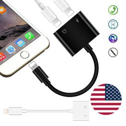 US 2 in 1 Headphone Charging Jack Adapter Cable Converter Fo