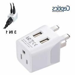 Ceptics CTU-7 USA to UK, Hong Kong Travel Adapter Plug with