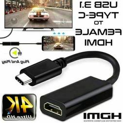 USB 3.1 Type C USB-C to HDMI HDTV Adapter Cable For Samsung