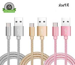 USB Type C Cable, AWOGER 3 Pack 3FT USB C Cable Nylon Braide