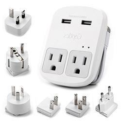 Ceptics World-Way 6 Travel Adapter Kit - 2 USB + 2 US Outlet