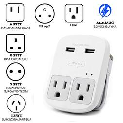 Safest Travel Adapter Kit, Dual USB for iPhone, Chargers, Ce